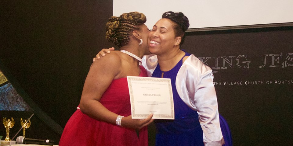 Lakeisha embracing Awardee Aricka Frasier